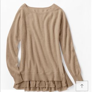 EUC Garnet Hill Cashmere lace shirttail sweater S